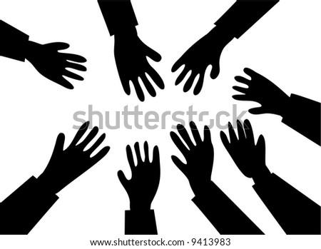 reaching hands - stock photo