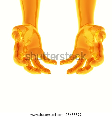 Reaching or giving position gold robotic arms - stock photo