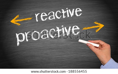 reactive and proactive - business concept - stock photo