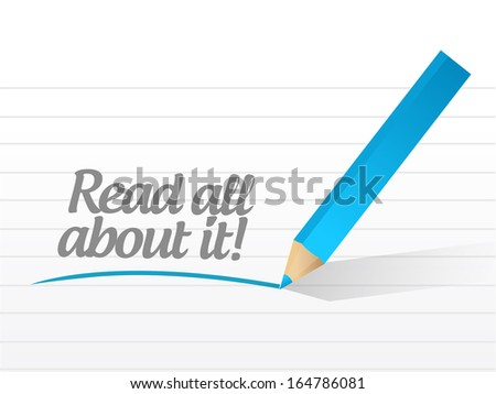 read all about it written message on a paper illustrations design