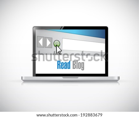 read blog computer web blog illustration design over a white background - stock photo