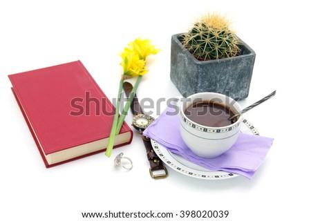 Reader's corner - isolated on white                - stock photo