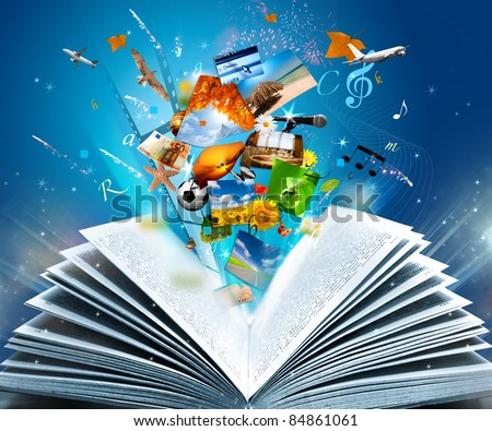 Reading a glowing fantasy book - stock photo