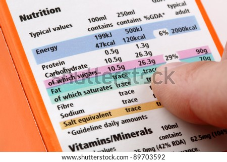 Reading a nutrition label on food packaging - stock photo