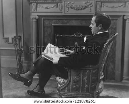 Reading by the fireplace - stock photo