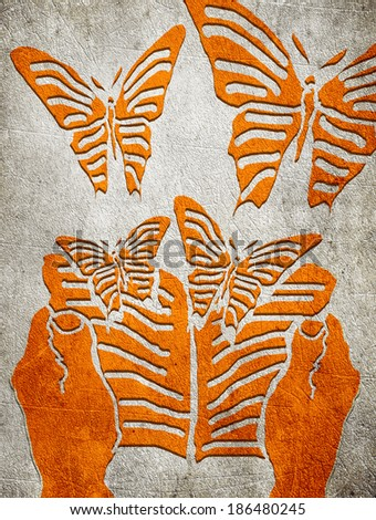 reading concept orange on gray digital illustration - stock photo