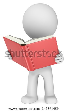 Reading. Dude 3D character holding and reading Red Book. Front view. - stock photo