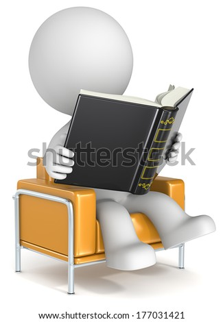 Reading. Dude sitting in orange chair reading a book.  - stock photo