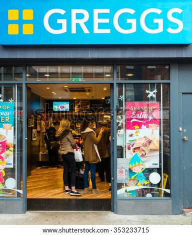 READING,ENGLAND-DECEMBER 19,2015:Greggs bakery in Reading,uk on December 19,2015.Greggs plc is the largest bakery chain in the United Kingdom, with 1,671 outlets.