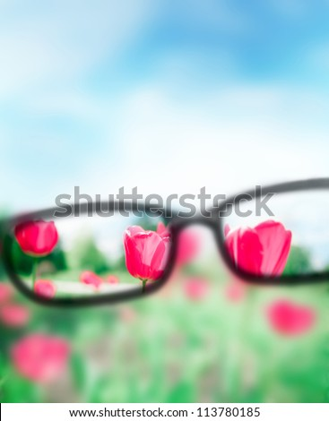 Reading eyeglasses and beautiful nature view. Sight care concept - stock photo