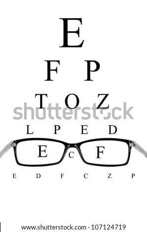 Reading eyeglasses and eye chart - stock photo