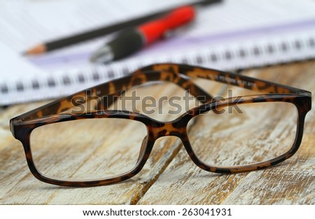 Reading glasses, close up