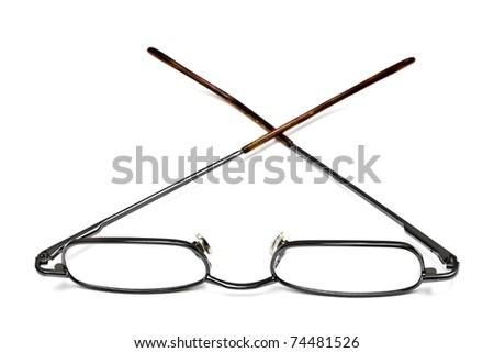Reading glasses isolated on white background - stock photo