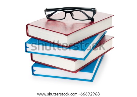 Reading glasses with books isolated on the white - stock photo