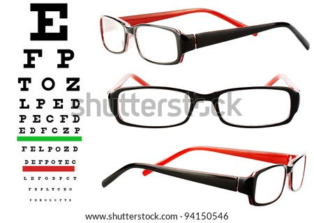 Reading glasses with eye chart extreme closeup