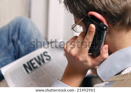 reading hot news - stock photo