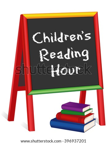 Reading Hour Sign, chalk text on childrens multi color wood chalkboard easel, stack of books, for schools, libraries and bookstores, isolated on white background.  - stock photo