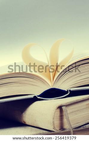 reading love concept in retro colors - stock photo