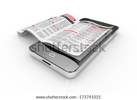 reading news on smartphone. 3d illustration - stock photo
