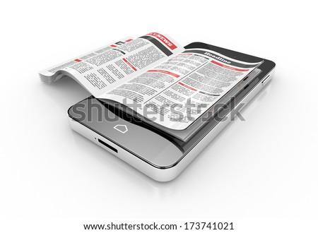 reading news on smartphone. 3d illustration - stock photo