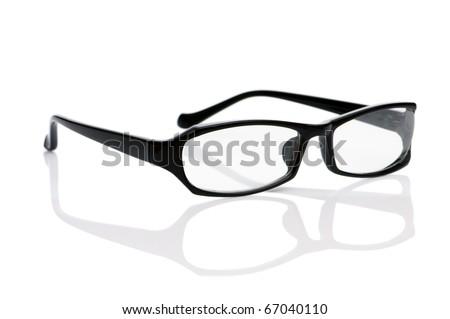 Reading optical glasses isolated on the white - stock photo