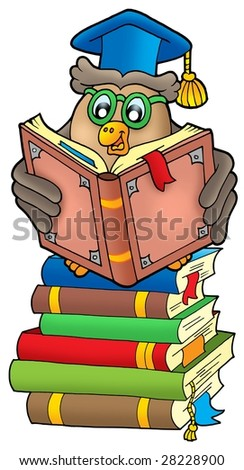 Reading owl teacher on books - color illustration. - stock photo