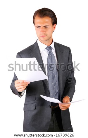 Reading papers - stock photo