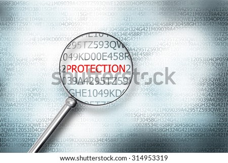 reading protection on digital computer screen with a magnifying glass internet security - stock photo