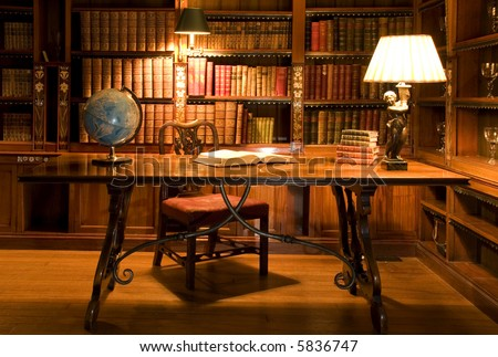 Reading room in old library. Globe - stock photo