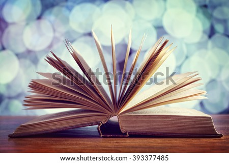 Reading, storytelling and education concept or bible and religion - stock photo