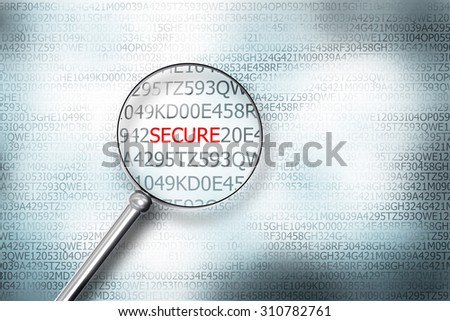 reading the word secure on digital computer screen with a magnifying glass internet security - stock photo