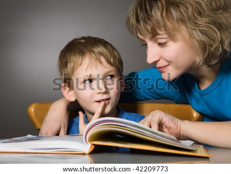 Reading together - stock photo