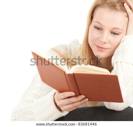 reading young blond hair woman with brown book - stock photo