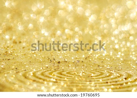 ready design with golden glitter sparkles background , super macro, shallow DOF - stock photo