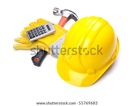 Ready fgor building site - HardHat Hammer Gloves Calculator on white - stock photo