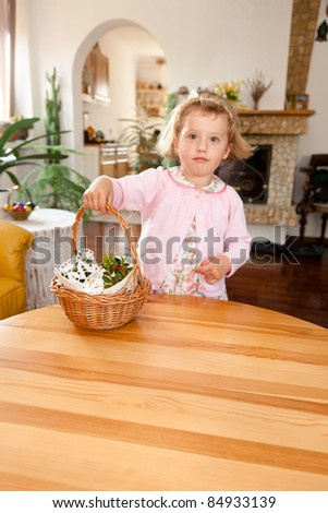 Ready for blessing of the Easter baskets on Holy Saturday - stock photo