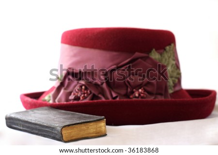 Ready for church, bible and hat for the lady - stock photo