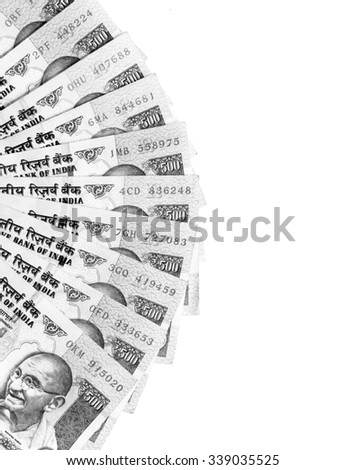 Ready for exchange with black and white color of Indian rupee currency,money on white background - stock photo