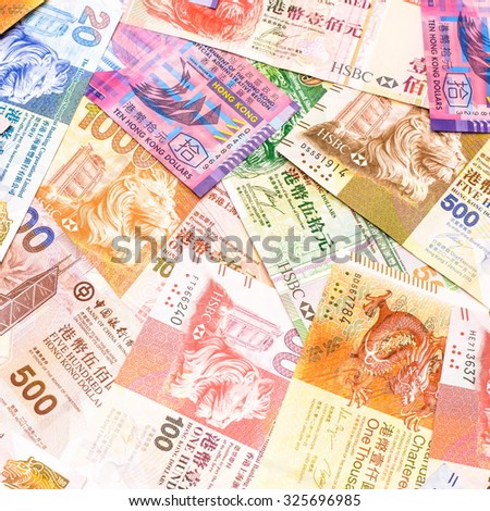 Ready for exchange with colorful of Hong kong dollars currency,money