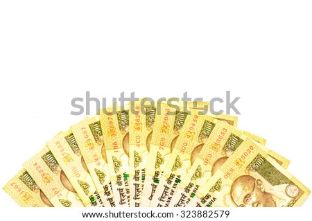 Ready for exchange with colorful of Indian rupee currency,money on white background - stock photo