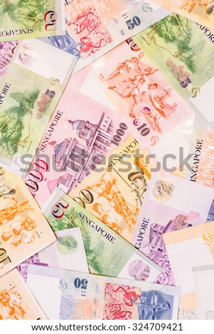 Ready for exchange with colorful of Singapore dollars currency,money