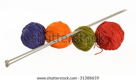 READY FOR KNITTING- WOOL AND NEEDLES ON A WHITE BACKGROUND