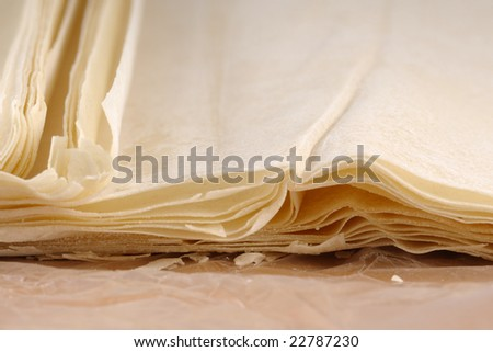 Ready made dough leaves, fillo, phyllo used for baklava, banitsa - stock photo
