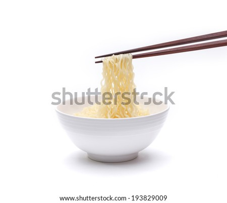 Ready made instant noodle in a bowl with chopstick isolated on white background  - stock photo