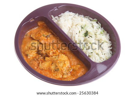 Ready-meal chicken curry & rice - stock photo