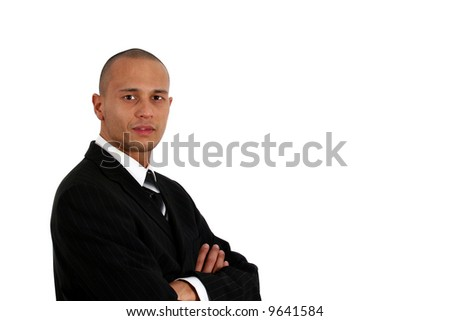 Ready To Do Business Young man in stylish business fashion - over white background. - stock photo