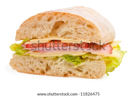 Ready to eat ciabatta sandwich with lettuce, ham, cheese and tomatoes on white background