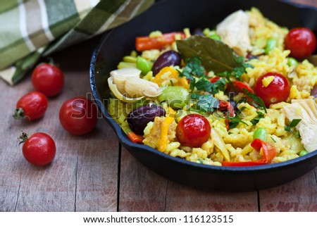 Ready to eat  vegetables paella. Also available in vertical format. - stock photo
