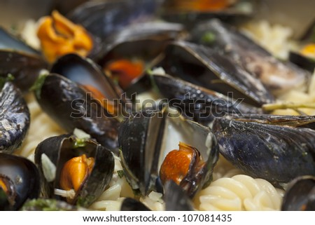 Ready to enjoy Italian fusilli pasta with mussels. Close-up