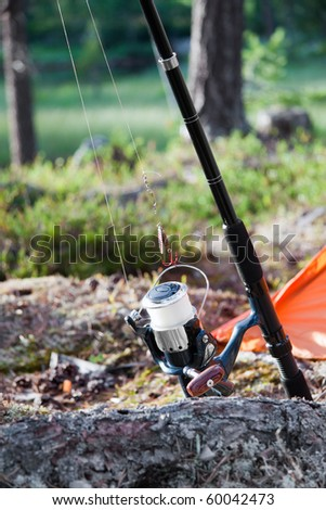 ready to go fishing with a rod and a hook - stock photo